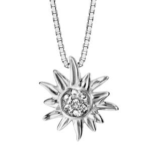 Image of Collier argent rhodié edelweiss oxydes blancs sertis 42+3cm
