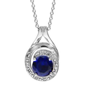 Image of Collier argent rhodié pendentif forme spirale pierre bleu et oxydes blancs sertis 42+3cm