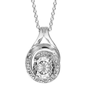 1001 Bijoux - Collier argent rhodié pendentif forme spirale pierre blanche et oxydes blancs sertis 42+3cm pas cher