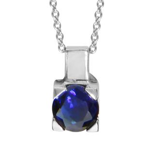 1001 Bijoux - Collier argent rhodié pendentif avec nacre blanche et pierre ronde bleu foncé 42+cm pas cher