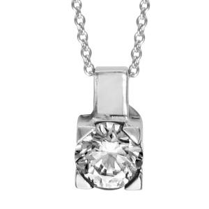 1001 Bijoux - Collier argent rhodié pendentif avec nacre blanche et oxyde rond blanc 42+cm pas cher