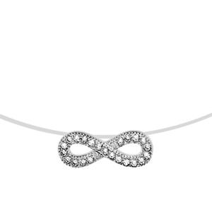 Image of Collier argent rhodié fil nylon motif infini oxydes blancs sertis 41cm