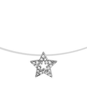 1001 Bijoux - Collier argent rhodié fil nylon motif étoile oxydes blancs sertis 41cm pas cher