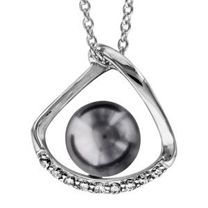 1001 Bijoux - Collier argent rhodié perle synthétique grise avec oxydes blancs sertis 40+4cm pas cher