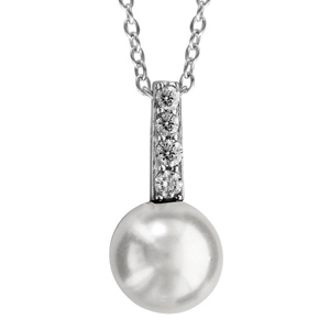 Image of Collier argent rhodié pendentif perle blanche et 4 oxydes blancs 40+4cm