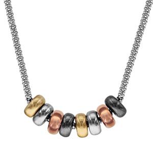 Image of Collier argent rhodié maille ronde 8 anneaux dorure 4 tons 40+5cm