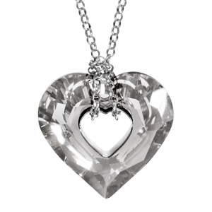 Image of Collier argent rhodié pendentif forme coeur cristal gris 38+5cm