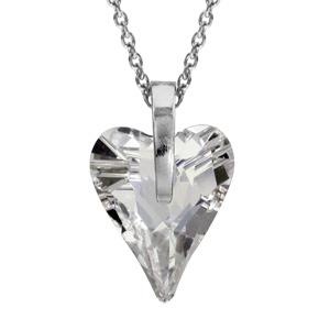 1001 Bijoux - Collier argent rhodié pendentif forme coeur cristal blanc pas cher