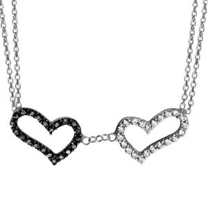 1001 Bijoux - Collier argent rhodié double chaînes 2 coeurs pierres noires et oxydes blancs sertis 42+3cm pas cher