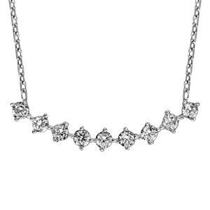 1001 Bijoux - Collier argent rhodié 9 oxydes blancs sertis forme arrondie 42+3cm pas cher
