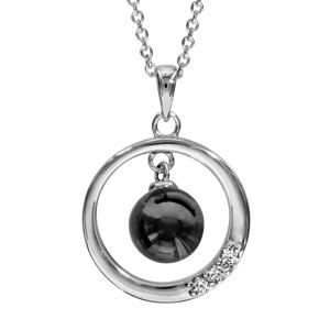 Image of Collier argent rhodié pendentif cercle avec boule céramique noire 42+3cm