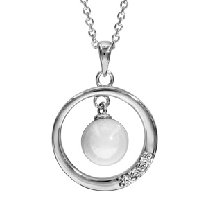 Image of Collier argent rhodié pendentif cercle avec boule céramique blanche 42+3cm