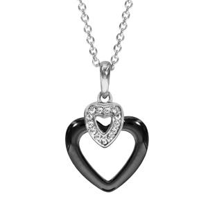 Image of Collier argent rhodié pendentif coeur céramique noire et oxydes blancs sertis 42+3cm