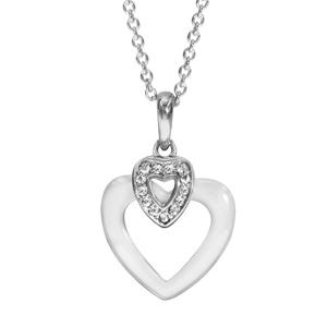 Image of Collier argent rhodié pendentif coeur céramique blanche et oxydes blancs sertis 42+3cm