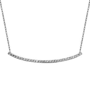 Image of Collier argent rhodié barrette arrondie oxydes blancs sertis 43+3cm