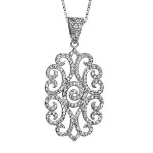 Image of Collier argent rhodié pendentif motif spirales oxydes blancs sertis 42+3cm