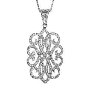 Image of Collier argent rhodié motif oxydes blancs sertis 42+3cm