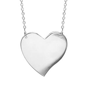 Image of Collier argent plaque coeur à graver 43cm