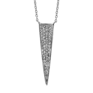 1001 Bijoux - Collier argent rhodié forme triangle pavé oxydes blancs 40+4cm pas cher