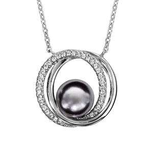 1001 Bijoux - Collier argent rhodié double cercle avec perle grise 40+4cm pas cher