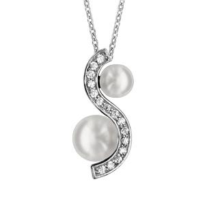1001 Bijoux - Collier argent rhodié pendentif forme vague oxydes blancs sertis avec 2 perles blanches d'eau douce 40+4cm pas cher