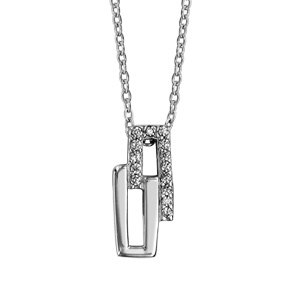 Image of Collier argent rhodié 2 rectangles oxydes blancs 40+4cm