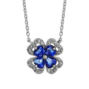 1001 Bijoux - Collier argent rhodié trèfle pierre bleu entourage oxydes blancs sertis 40+4cm pas cher