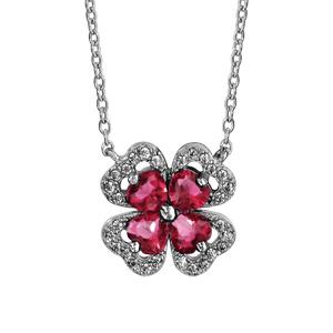 1001 Bijoux - Collier argent rhodié trèfle pierre rouge entourage oxydes blancs sertis 40+4cm pas cher