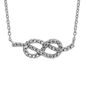 Image of Collier argent rhodié noeud marin oxydes blancs sertis 40+4cm
