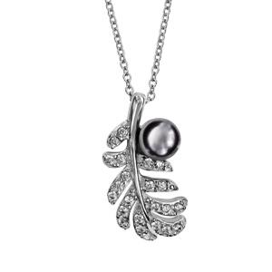 Image of Collier argent rhodié plume oxydes blancs avec perle grise 40+4cm