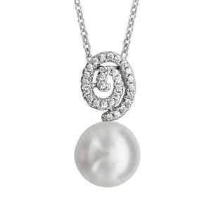 1001 Bijoux - Collier argent rhodié pendentif motif spiral avec perle d'eau douce blanche 40+4cm pas cher