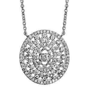 Image of Colleir argent rhodié forme ovale ajourée oxydes blancs sertis 40+4cm