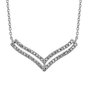 """Image of Collier argent rhodié double """"v"""" superposés oxydes blancs sertis 40+4cm"""