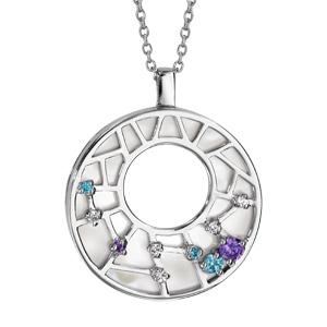 1001 Bijoux - Collier argent rhodié pendentif rond nacre blanche et pierres 42+3cm pas cher