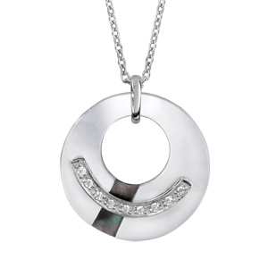 Image of Collier argent rhodié pendentif rondelle nacre blanche et noire et oxydes blancs sertis 42+3cm
