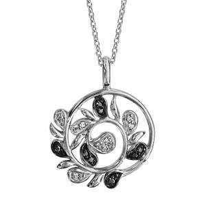Image of Collier argent rhodié pendentif rond feuilles pierres noires et oxydes blancs sertis 42+3cm