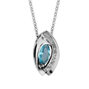 1001 Bijoux - Collier argent rhodié navette pierre bleu ciel entourage oxydes blancs sertis 42+3cm pas cher