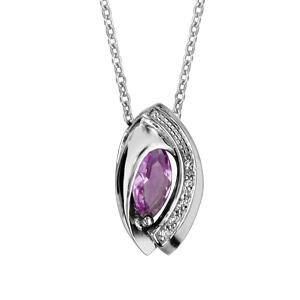 Image of Collier argent rhodié navette pierre violette entourage oxydes blancs sertis 42+3cm
