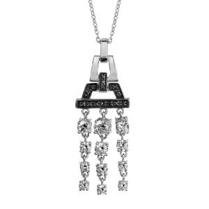 1001 Bijoux - Collier argent rhodié pendentif articulé pierres noires et 3 rangs pendants oxydes blancs sertis 42+3cm pas cher
