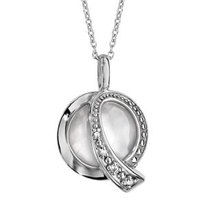 Image of Collier argent rhodié pendentif rond nacre blanche et oxydes blancs sertis 42+3cm