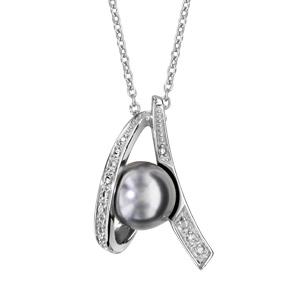 Image of Collier argent rhodié perle grise et oxydes blancs sertis 42+3cm