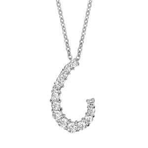 Image of Collier argent rhodié pendentif arrondi oxydes blancs sertis 42+3cm
