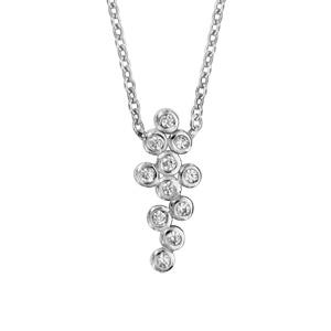 Image of Collier argent rhodié pendentif grappe oxydes blancs sertis clos 42+3cm