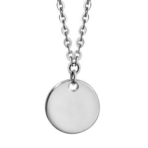Image of Collier argent rhodié enfant médaille 10mm à graver 35+5cm