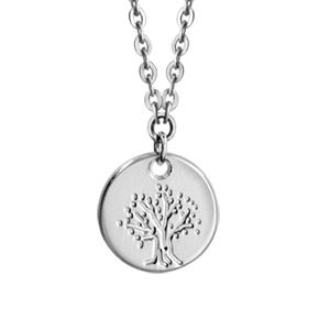 1001 Bijoux - Collier argent rhodié enfant médaille 10mm arbre de vie 35+5cm pas cher