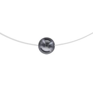 Image of Collier argent rhodié fil nylon perle grise 8mm 42cm
