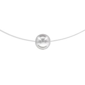Image of Collier argent rhodié fil nylon perle blanche 8mm 42cm