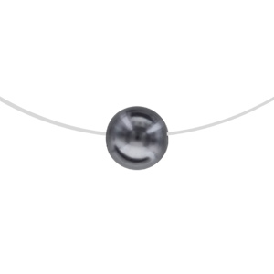 Image of Collier argent rhodié fil nylon perle grise 10mm 42cm