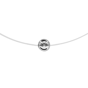 Image of Collier argent rhodié fil nylon boule 6mm 42cm
