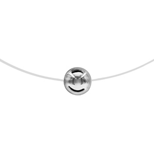 Image of Collier argent rhodié fil nylon boule 8mm 42cm